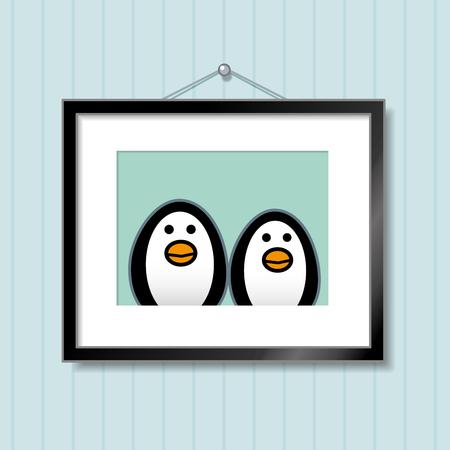 behang blauw: Leuke Portret van Paar van de pinguïn in Picture Frame Opknoping op Blauw Achtergrond van het Behang Stock Illustratie