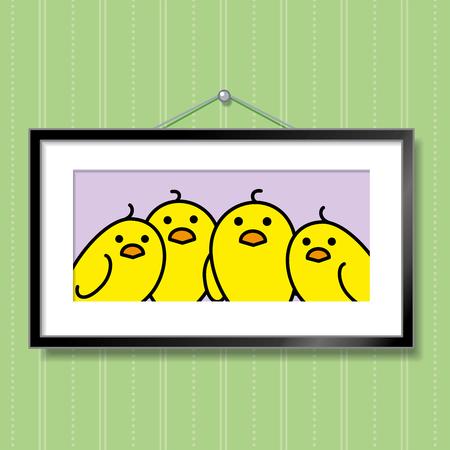녹색 바탕 화면 배경에 그림 프레임 매달려 노란 병아리의 귀여운 가족 초상화