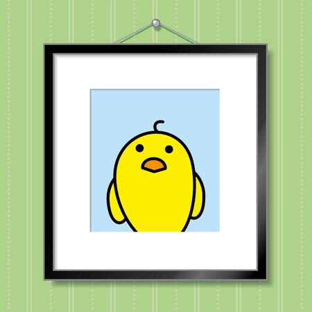 green wallpaper: Cute Portrait of Single Yellow Chick in Picture Frame Hanging on Green Wallpaper Background