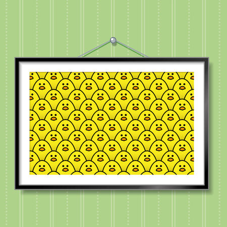 green wallpaper: Large Group Photo of Yellow Chicks in Picture Frame Hanging on Green Wallpaper Background Illustration