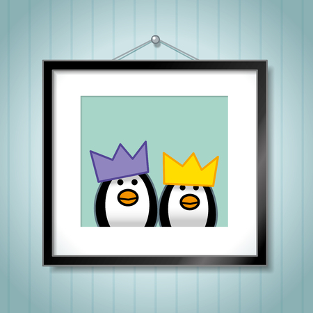 capture the moment: Cute Family of Penguins wearing Bright Festive Party Hats in Picture Frames hanging on a Wallpaper Background Illustration