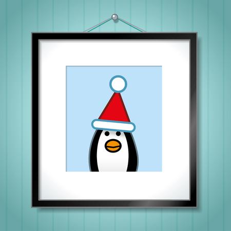 behang blauw: Leuke Portret van Single Pinguïn die het Pet van de Kerstman in Picture frame opknoping op de Blauwe Achtergrond van het Behang