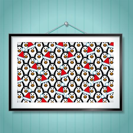 behang blauw: Grote groep Foto van Penguins dragen Santa Hoeden in Picture Frame hangend aan Blue Wallpaper Achtergrond Stock Illustratie