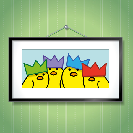 green wallpaper: Cute Family Portrait of Yellow Chicks Wearing Colourful Party Hats in Picture Frame Hanging on Green Wallpaper Background