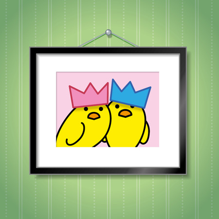 green wallpaper: Cute Portrait of Yellow Chick Couple Wearing Bright Party Hats in Picture Frame Hanging on Green Wallpaper Background