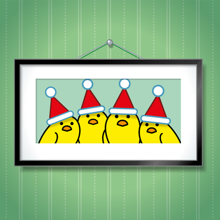 chicks: Cute Family Portrait of Yellow Chicks Wearing Santa Hats in Picture Frame Hanging on Blue Wallpaper Background