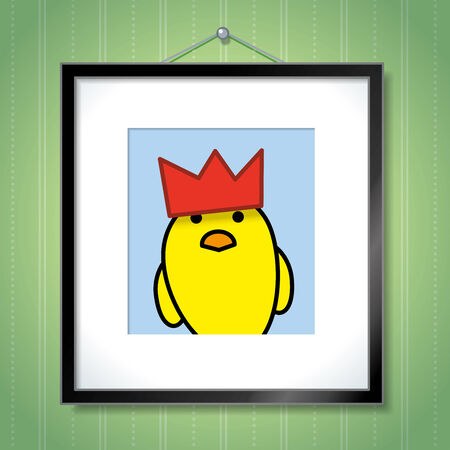 green wallpaper: Cute Portrait of Single Yellow Chick Wearing Red Party Hat in Picture Frame Hanging on Green Wallpaper Background