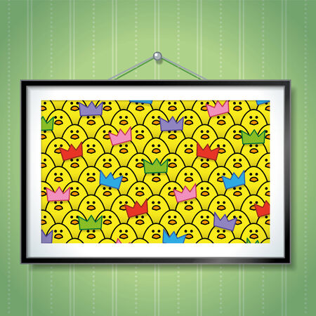 Large Group Photo of Yellow Chicks wearing Colourful Party Hats in Picture Frame Hanging on Green Wallpaper Background Vector