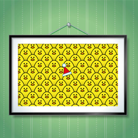 chicks: Yellow Chick wearing Santa Hat in large Group Photo of Chicks in Picture Frame Hanging on Blue Wallpaper Background Illustration