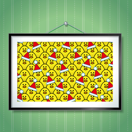Large Group Photo of Yellow Chicks wearing Santa Hats in Picture Frame Hanging on Green Wallpaper Background