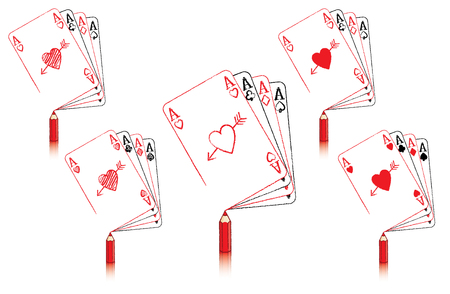 aces: Red Pencil with Reflection Drawing various Ace of Hearts Playing Cards in a fan of aces with Cupids Arrow