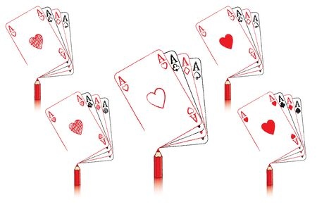 ace of hearts: Red Pencil with Reflection Drawing various Ace of Hearts Playing Card Illustration