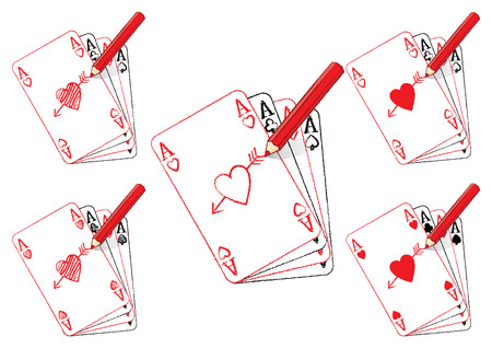 Red Pencil Drawing Various Ace of Hearts Playing Cards on a Fan of Aces with Cupids Arrow Vector