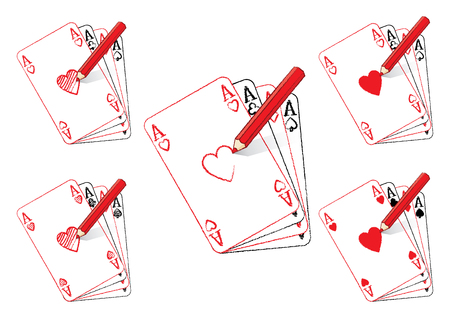 aces: Red Pencil Drawing Various Ace of Hearts Playing Cards on Fan of Aces Illustration