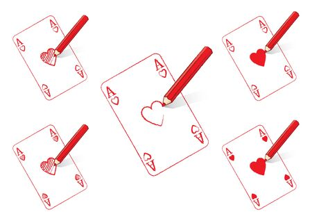 ace: Red Pencil Drawing Various Ace of Hearts Playing Cards Illustration
