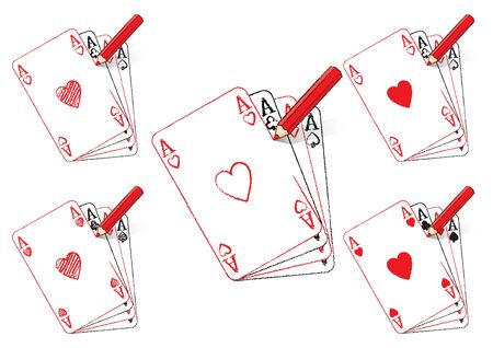 aces: Red Pencil Drawing Various Ace of Hearts Playing Cards on fan of Aces