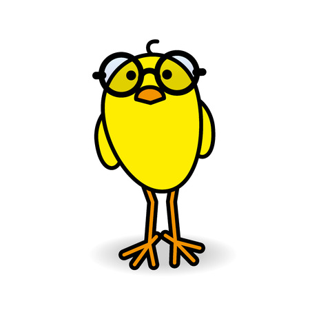 Single Smiling Yellow Chick Wearing Round Black Rimmed Spectacles Staring towards camera on White Background