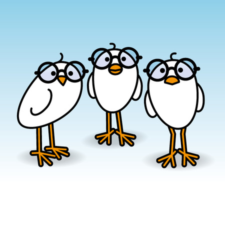 gazing: Three Small Cute White Chicks wearing Round Black Spectacles Staring towards camera on Blue Background Illustration