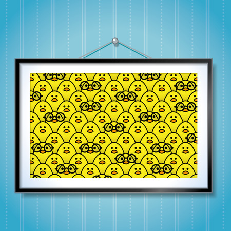 chicks: Large Group Photo of Yellow Chicks with a single chick wearing Round Frame Glasses in Picture Frame Hanging on Blue Wallpaper Background Illustration