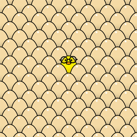rimmed: Individual fresca polluelo amarillo que lleva negros Vidrios bordeados redonda rodeada de Id�ntico Brown huevos