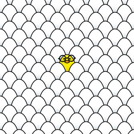 rimmed: Individual fresca polluelo amarillo que lleva negros Vidrios bordeados redonda rodeada de Id�ntico huevos blancos