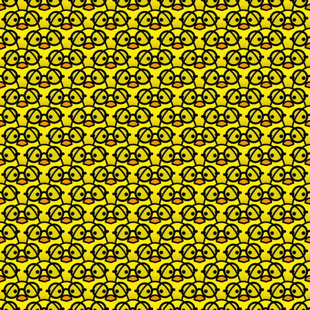 black rimmed: Many Identical Yellow Chicks Wearing Round Black Rimmed Glasses Staring at camera in a Pattern