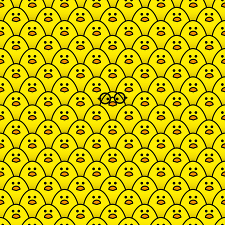 rogue: Cool Yellow Chick wearing Round Black Framed Glasses surrounded by many identical Yellow chicks Staring at camera Illustration