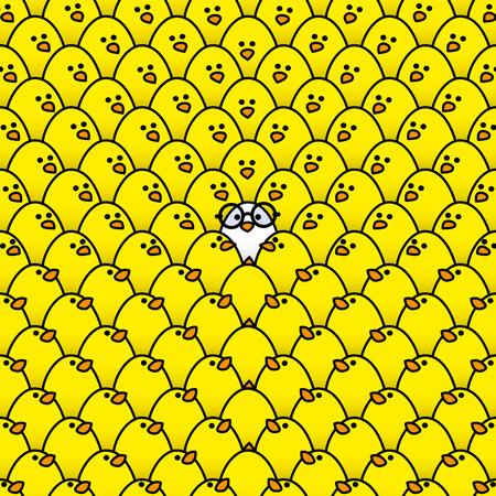 pollitos: Individual polluelo blanco en negro gafas de montura redonda rodeada de Repetición Polluelos amarillos todos mirando en su dirección