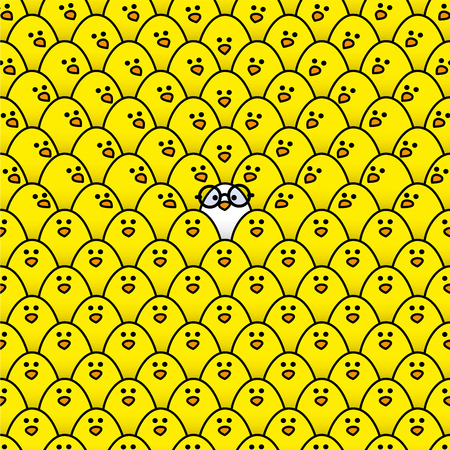 rimmed: Cool White Chick wearing Black Round Rimmed Glasses surrounded by many identical Yellow chicks with some Staring in its direction Illustration