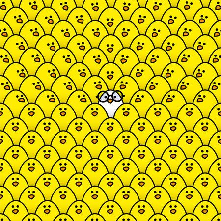 rimmed: Polluelo fresco blanco que llevaba gafas redondas de montura negra rodeada de muchos polluelos amarillos id�nticos con algunos fijamente en su direcci�n