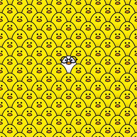 rimmed: Polluelo fresco blanco que llevaba gafas redondas de montura negra rodeada de muchos polluelos amarillos id�nticos fijamente a la c�mara