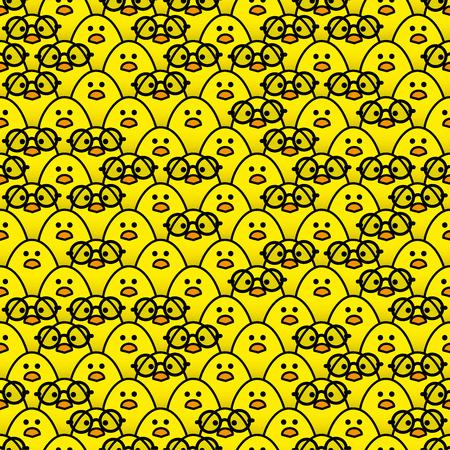 rimmed: Muchos polluelos amarillos id�nticos fijamente a la c�mara con un poco de azar vistiendo Ronda Vidrios bordeados Negro