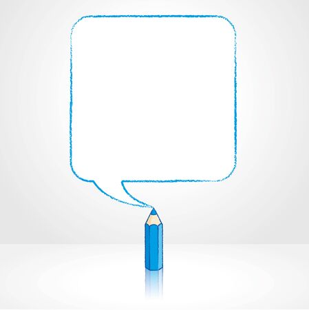 pale background: Blue Pencil with Reflection Drawing Smooth Square Shaped Speech Bubble on Pale Background