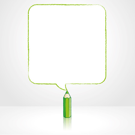 pale background: Green Pencil with Reflection Drawing Smooth Square Shaped Speech Bubble on Pale Background