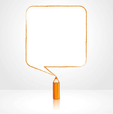 pale background: Orange Pencil with Reflection Drawing Smooth Square Shaped Speech Bubble on Pale Background