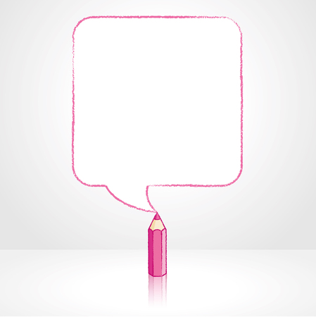 pale background: Pink Pencil with Reflection Drawing Smooth Square Shaped Speech Bubble on Pale Background