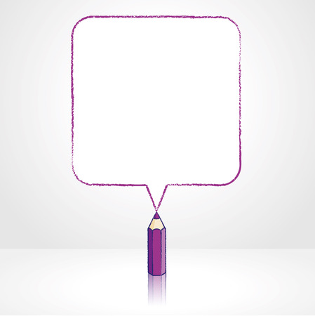 pale background: Purple Pencil with Reflection Drawing Smooth Square Shaped Speech Bubble on Pale Background Illustration