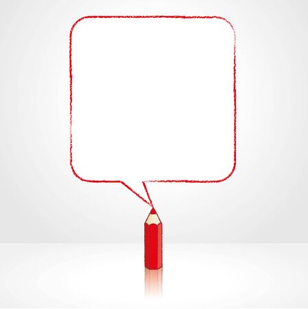 pale background: Red Pencil with Reflection Drawing Smooth Square Shaped Speech Bubble on Pale Background