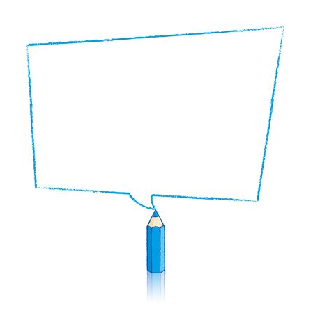 skewed: Blue Pencil with Reflection Drawing Skewed Rectangular Shaped Speech Bubble on White Background Illustration