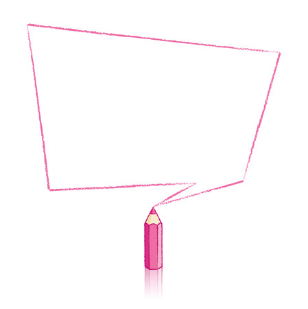 Pink Pencil with Reflection Drawing Skewed Rectangular Shaped Speech Bubble on White Background Vector