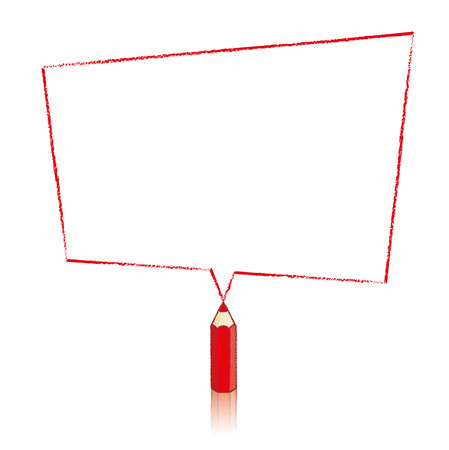 skewed: Red Pencil with Reflection Drawing Skewed Rectangle Shaped Speech Bubble on White Background Illustration