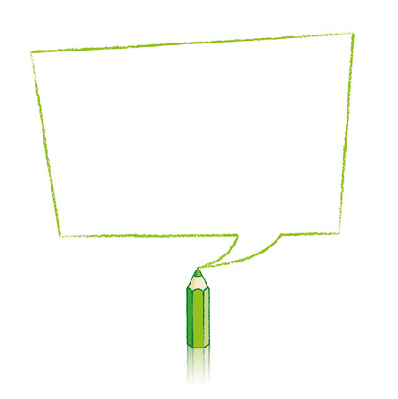 skewed: Green Pencil with Reflection Drawing Skewed Rectangular Shaped Speech Bubble on White Background