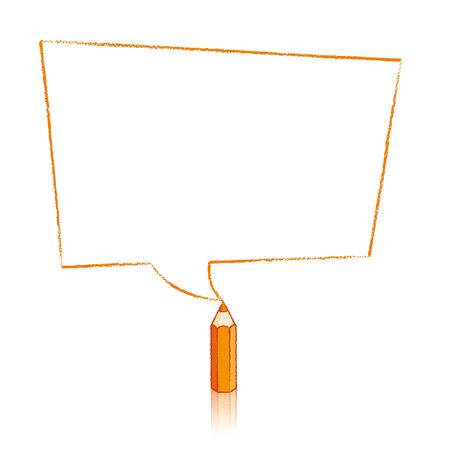 skewed: Orange Pencil with Reflection Drawing Skewed Rectangular Shaped Speech Bubble on White Background