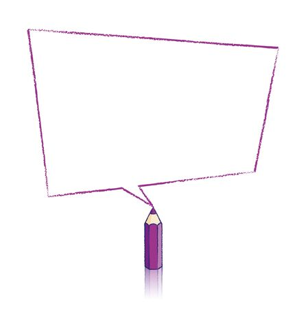 skewed: Purple Pencil with Reflection Drawing Skewed Rectangular Shaped Speech Bubble on White Background Illustration