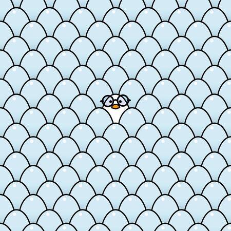 rimmed: Individual polluelo fresco blanco desgastando montura negra gafas redondas Rodeado Id�ntico Huevos azules