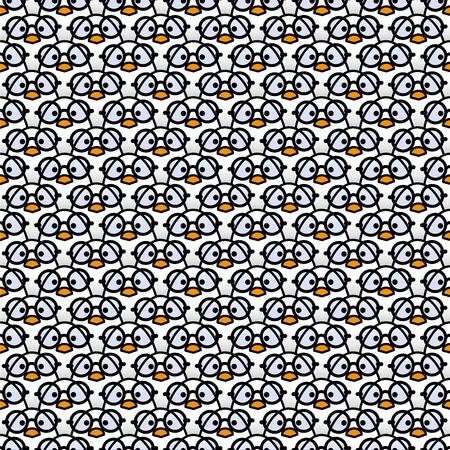 rimmed: Muchos polluelos blancos id�nticos de desgaste de la Ronda Negro Vidrios bordeados fijamente a la c�mara en un patr�n Vectores