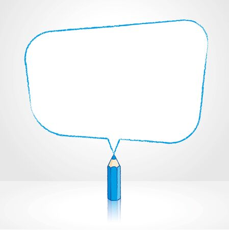 pale background: Blue Pencil with Reflection Drawing Smooth Skewed Rectangular Shaped Speech Bubble on Pale Background