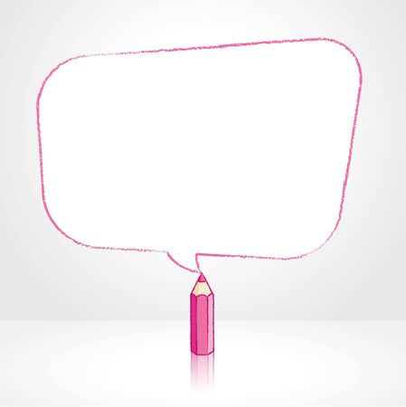 pale background: Pink Pencil with Reflection Drawing Smooth Skewed Rectangular Shaped Speech Bubble on Pale Background