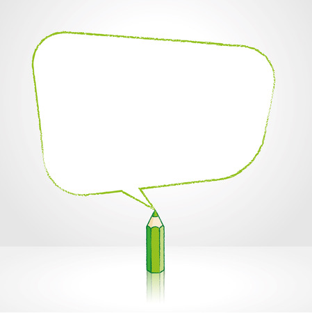 Green Pencil with Reflection Drawing Smooth Skewed Retangular Shaped Speech Bubble on Pale Background Ilustração