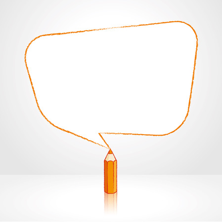 Orange Pencil with Reflection Drawing Smooth Skewed Retangular Shaped Speech Bubble on Pale Background